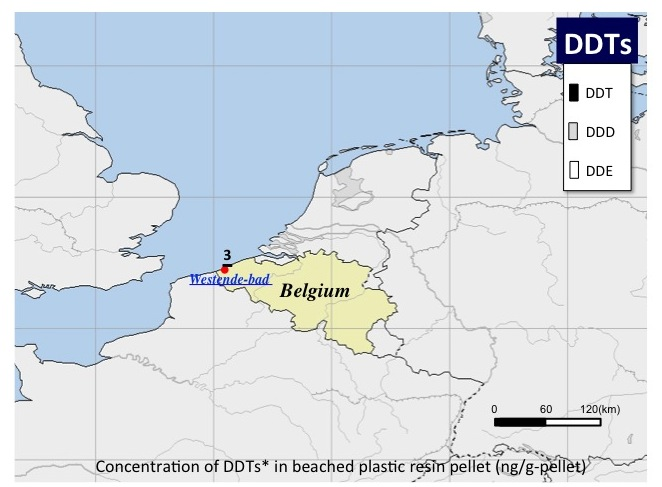 : DDTs concentration of DDTs in beachid plastic resin pellet (ng/g-pellet)